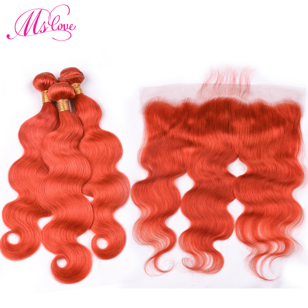 Ms Love Pre Colored #350 Orange Body Wave Bundles With Lace Frontal Closure Remy Brazilian Human Hair Lace Frontal 13*4 inch