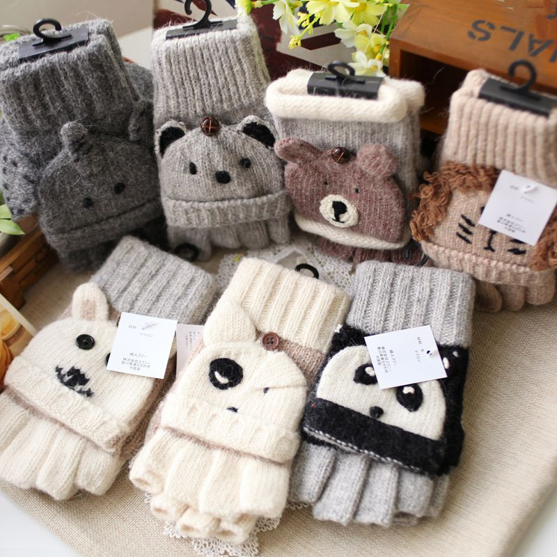 2016 bear gloves women winter warmer gloves knitted winter. Black Bedroom Furniture Sets. Home Design Ideas