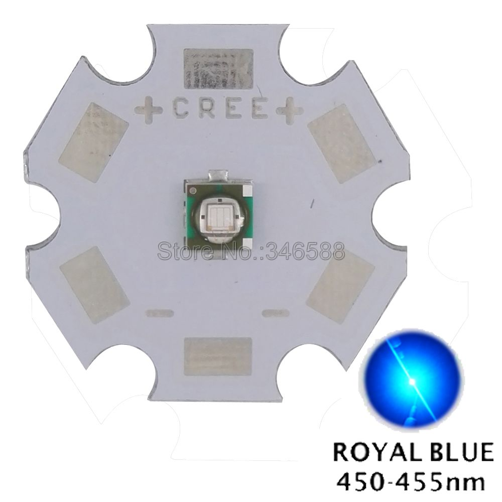 10pcs/lot! Cree XLamp XP-E XPE Royal Blue 450NM - 455NM 3W High Power LED Emitter Diode Chip On 8mm 12mm 14mm 16mm 20mm PCB