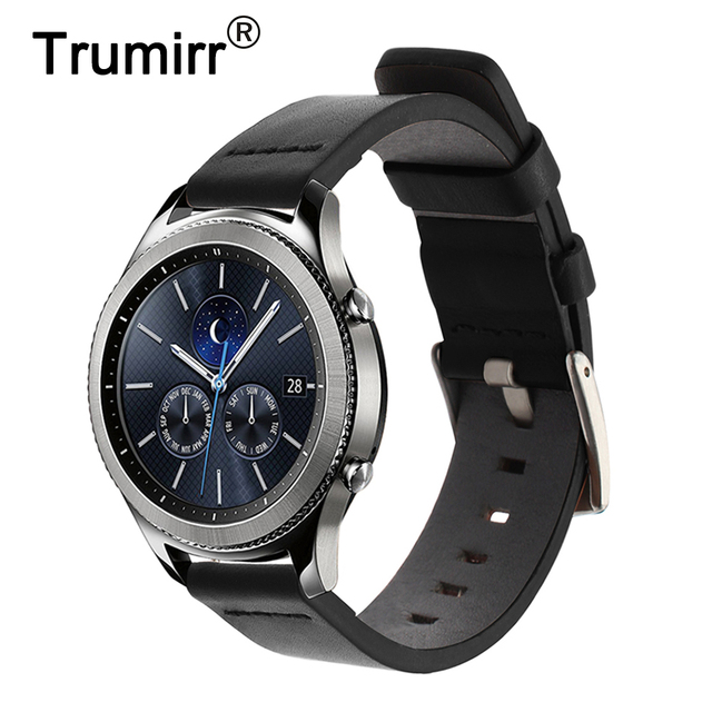 22mm Italian Genuine Leather Watchband for Samsung Gear S3 Gear 2 Neo Live Moto