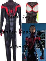 Erwachsene Kinder Miles Morales Spiderman Cosplay kostüm Spandex Zentai Bodysuit Spider-man Halloween Party anzug Spandex Overall