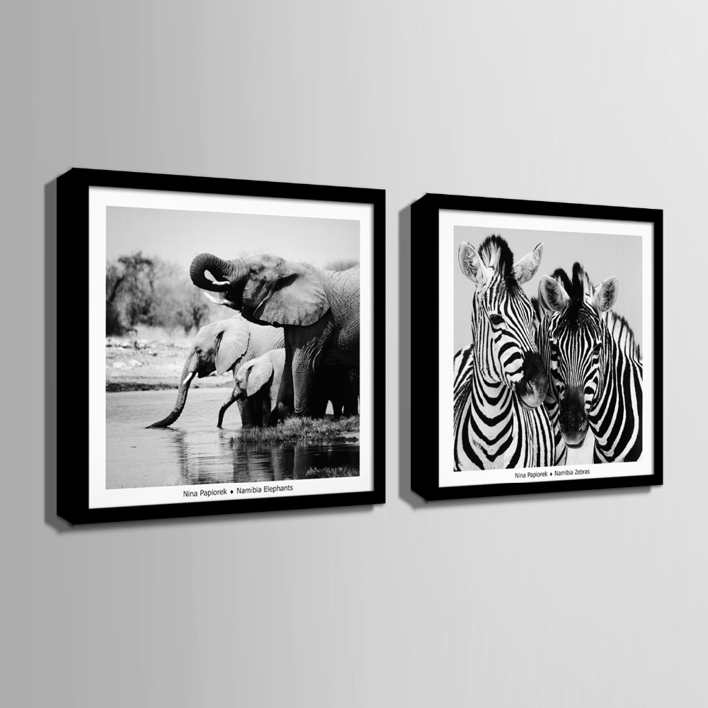 American style Art Print Framed Canvas Painting Art Elephant And ...