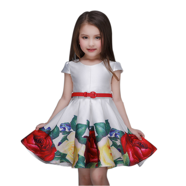 Robe Fille Baby Girl Dress Rose Floral Pattern A-Line Princess Dress Girls Clothes European Style Kids Dress