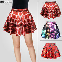 BOOCRE Fashion Red Black Puff Sex SKirts Girl Clothing Summer Party Skirts Female Short Skirt High