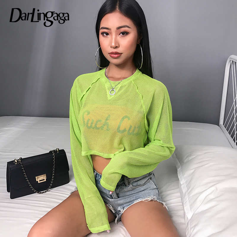 Darlingaga Повседневное ярко-зеленая, сетчатая Ажурные Топ Футболка прозрачный длинный рукав летние футболки для женские короткие топы, футболки, одежда