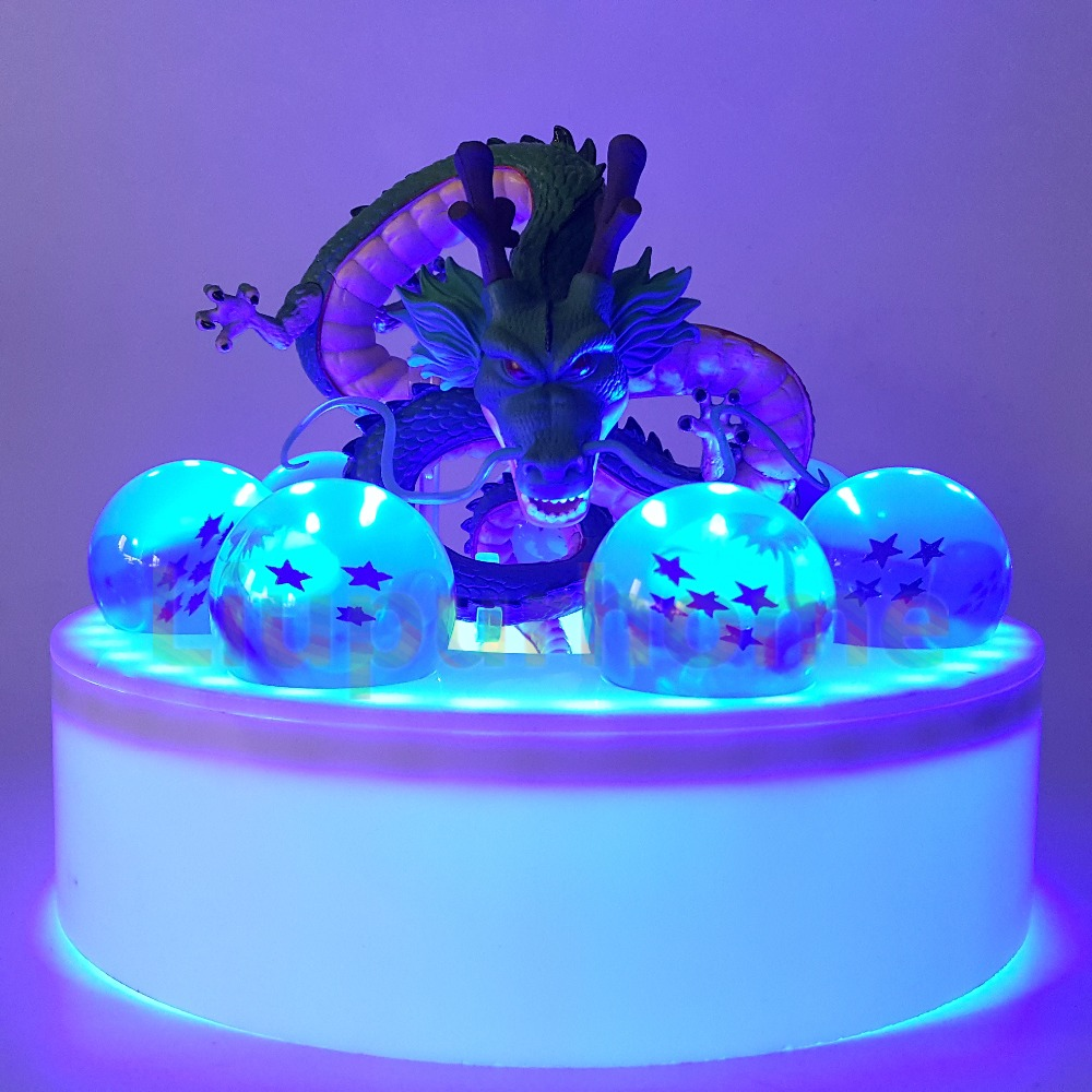 Dragon Ball Z Shenron Blue Led Crystal Ball PVC Set Anime Dragon Ball Z Son Goku Led Night Lights Lamp Lampara Led anime dragon ball z golden shenron crystal ball led set dragon ball super son goku dbz led lamp night lights xmas gift