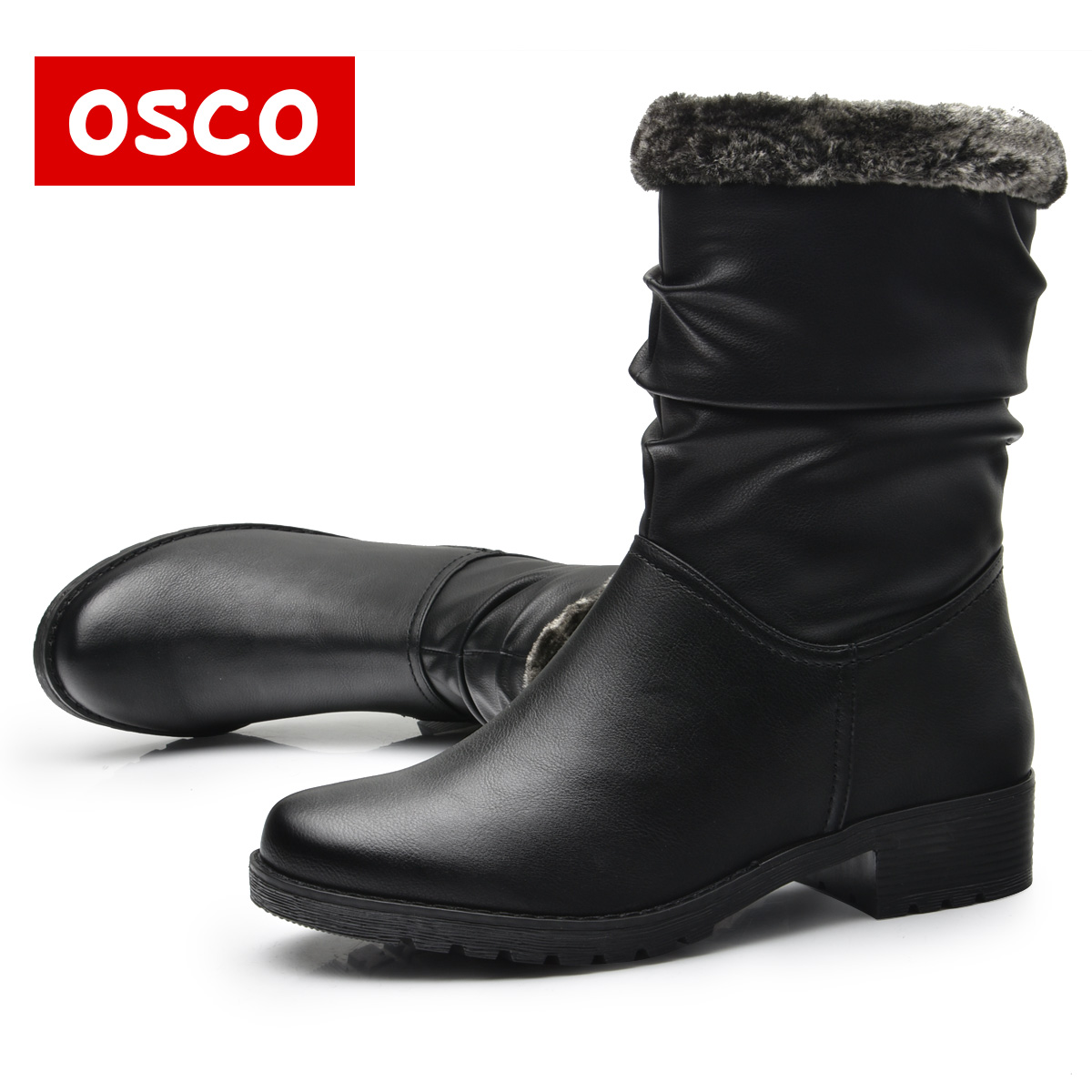 OSCO Brand New Style Winter Women Boots Warm PU Leather Snow Boots Female Round Toe Mid-Calf Fashion Flats Boots#116F06YB eiswelt women mid calf boots winter snow boots warm round toe flat shoes female fashion lace up boots plus size zqs182 page 8