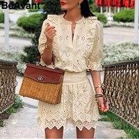 BeAvant Office ladies co ordinates dress Elegant elastic high waist hollow out female mini dresses Half sleeve ladies vestidos