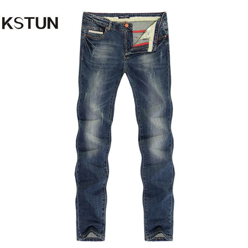 KSTUN Jeans Men Slim Straight Spring Summer Long Trousers Elastic Europe And American Style Vintage Classic Denim Pants Homme 40