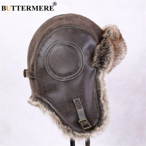 Image 4 - BUTTERMERE Winter Hats For Men Women Brown Ear Flaps Leather Russian Winter Hat Ushanka Bomber Trapper Hat Male Fur Snow Caps