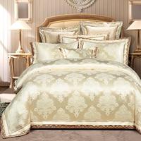 יוקרה דיסקונט חתונה סט מצעי מצעי אקארד סאטן משי ארמון אצילי גודל מלכת כותנה סט המיטה