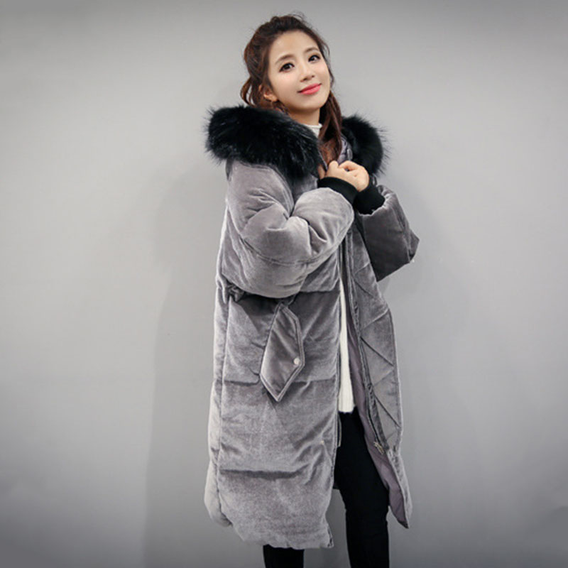 New 2017 Fashion Winter Parkas Long Large Hooded Fur Collar Velvet Coat Loose Woman Jacket Warm Thicken Parkas Female Outwears 2015 new hot winter thicken warm woman down jacket coat parkas outerwear hooded loose straight luxury brand long plus size xl