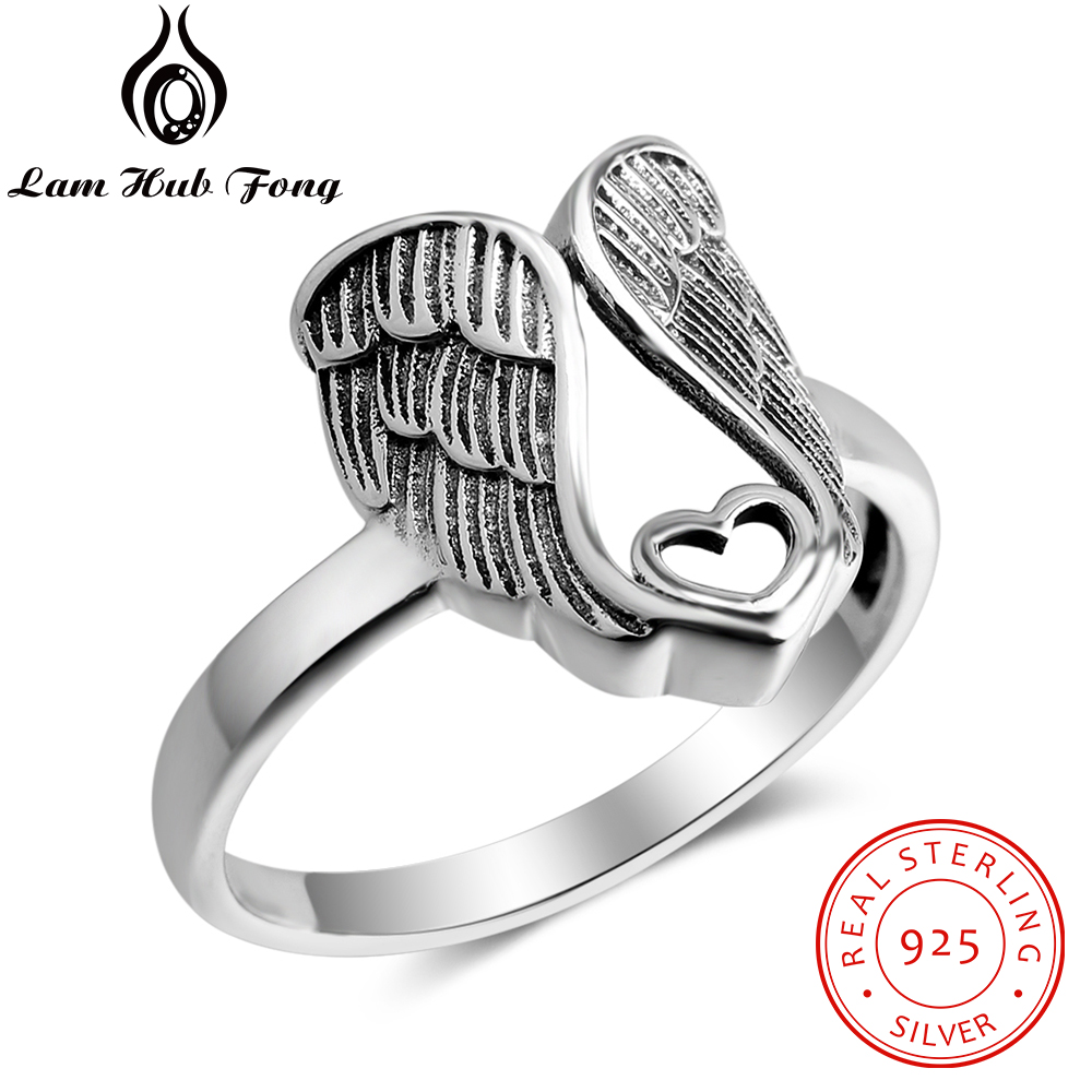 New Wing Of Angel With Heart Design 925 Sterling Silver Rings For Women Classic Style Size Ring Fine Jewelry Gift To Friends