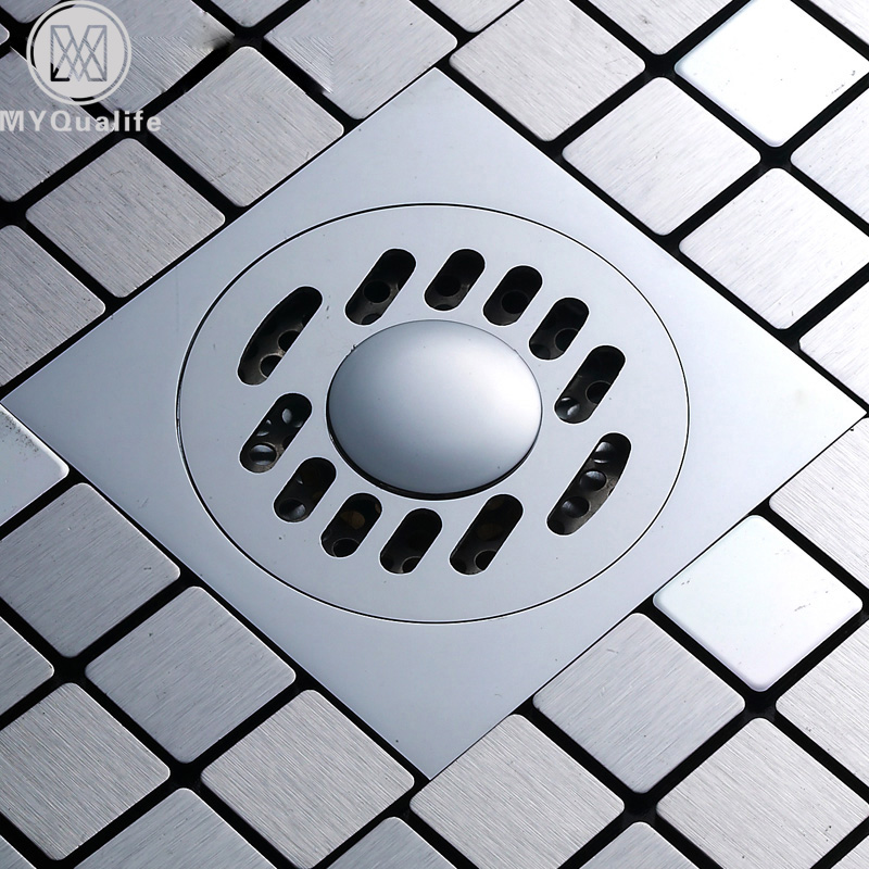 Square Shower Drain Cover.Us 13 26 49 Off Free Shipping Square Shower Drain Bathroom Grate Floor Drain Chrome Brass Waste Drain Cover 10 10cm In Drains From Home Improvement