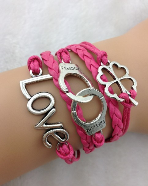 1pc cord the bracelet , pink pearl , infinity where there is a will there is a way bracelet , gift informers 1719 Min order 10$