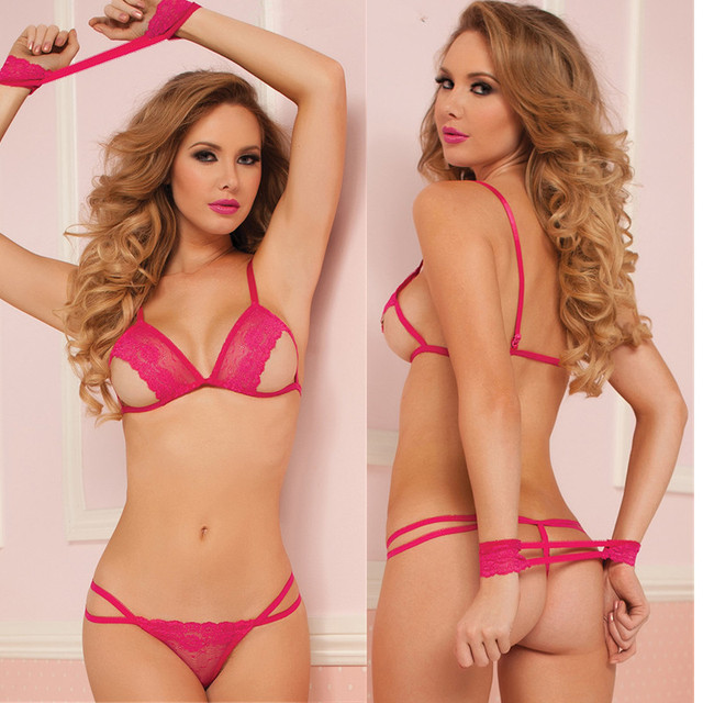 Sexy Erotic Ladies Exposed Breasts Bikini Pajamas Three Point Temptation Women Baby Doll Sexy Lingerie Sets Bandage Nightgowns