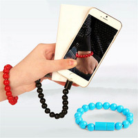 Micro USB2.0 Creatively USB Data Sync Charging Cable Bead Bracelet Charger Pure Color For iPhone Android 8pin Type C for Samsung