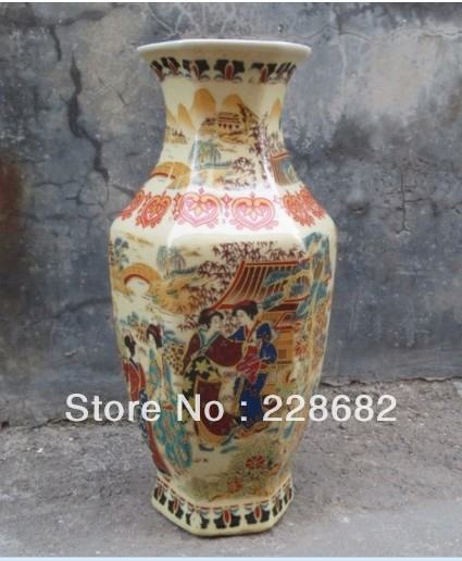 christmas decorations for home+ High 8 inch !!!Beautiful Japanese Famille Rose Porcelain Hand Painting Belle Vase Free Shipping