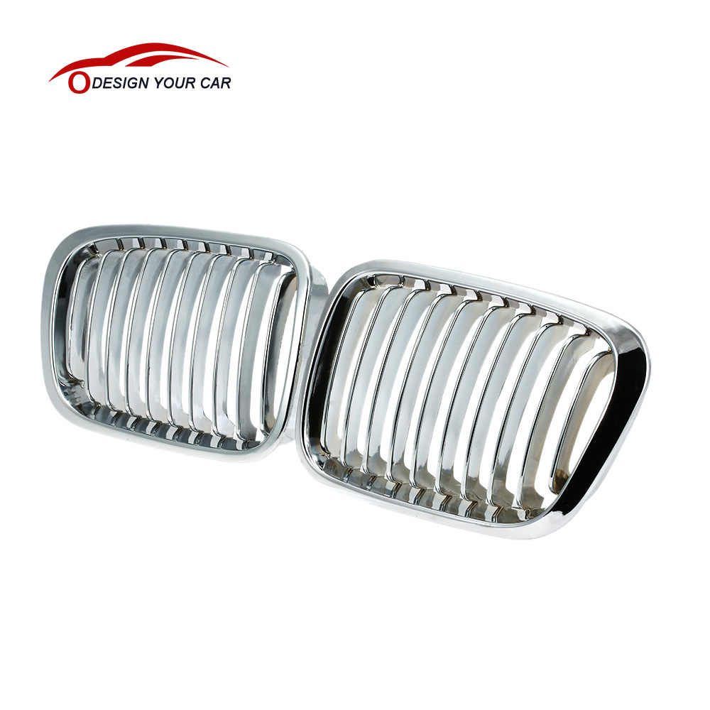 Car Style Plated Chrome Silver Front Racing Grilles for