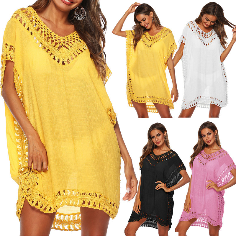 96c94d4f34 ... Tunic Beach Dress Women Bikini Swim Cover Ups Summer Swimsuit Cover Up  Boho. Mouse over to zoom in
