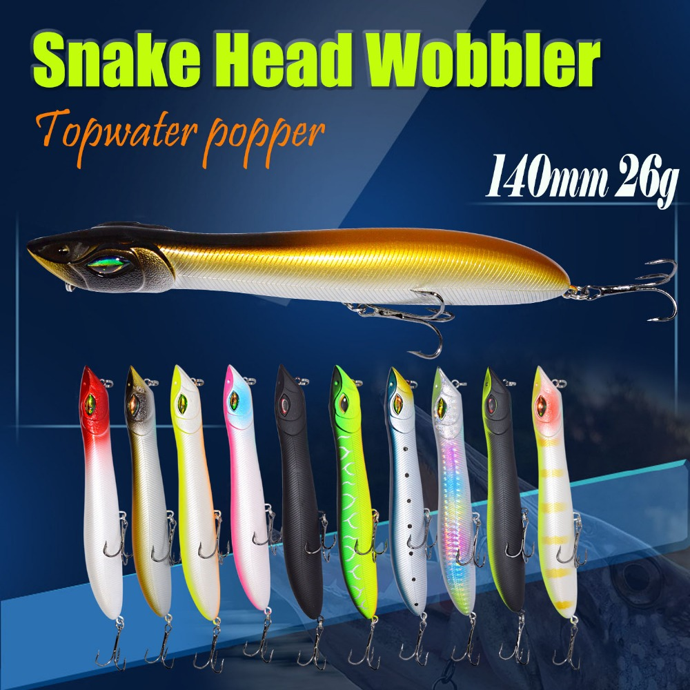Topwater Popper Bait Snake Head Wobbler 140mm 26g Fishing Lure Plastic Baits Lure Fishing Peche Iscas Artificial Para Pesca a in Fishing Lures from Sports Entertainment