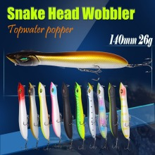 Купить с кэшбэком Topwater Popper Bait Snake Head Wobbler 140mm/26g Fishing Lure Plastic Baits Lure Fishing Peche Iscas Artificial Para Pesca