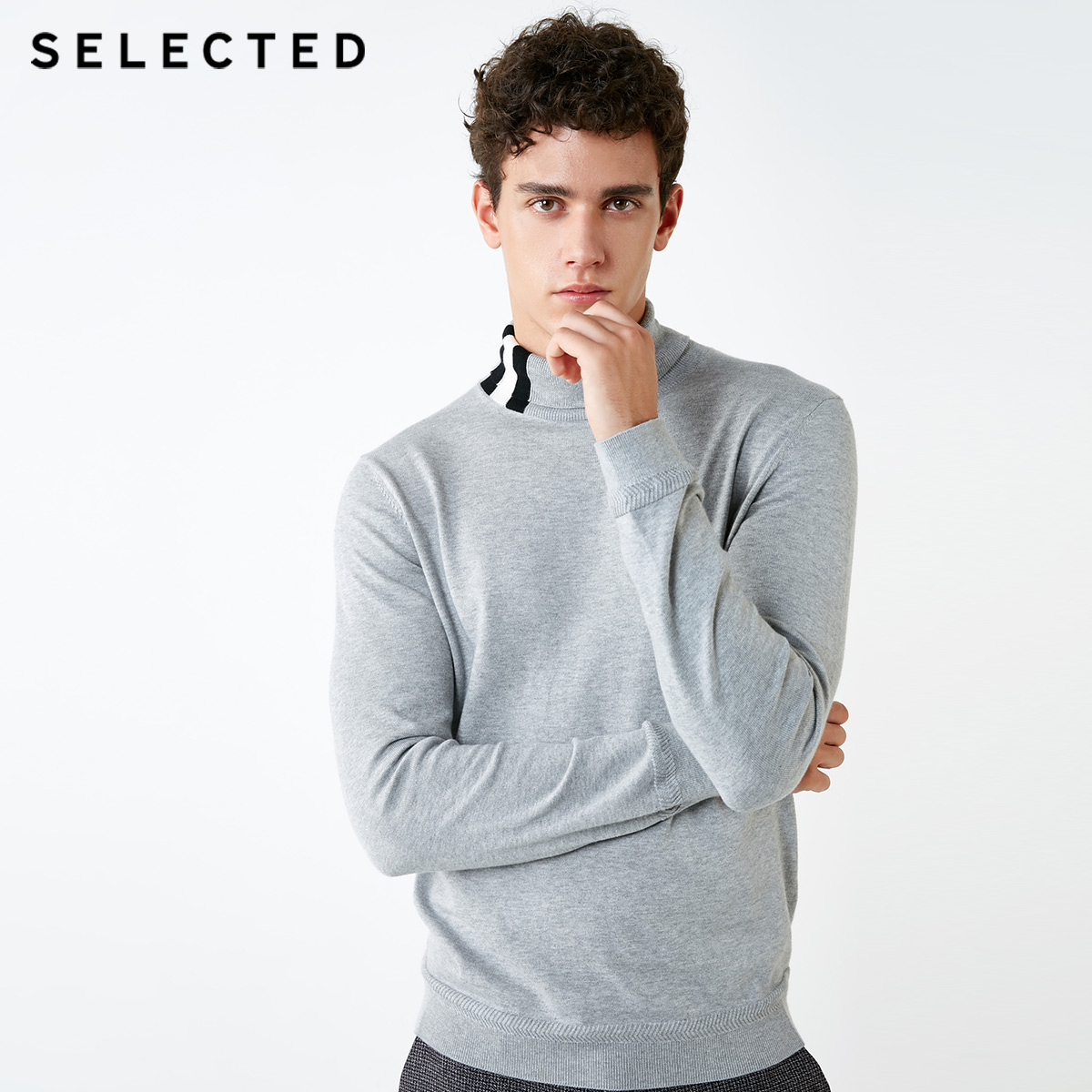 SELECTED Men's 100% Cotton Striped High-necked Knit S|418424523