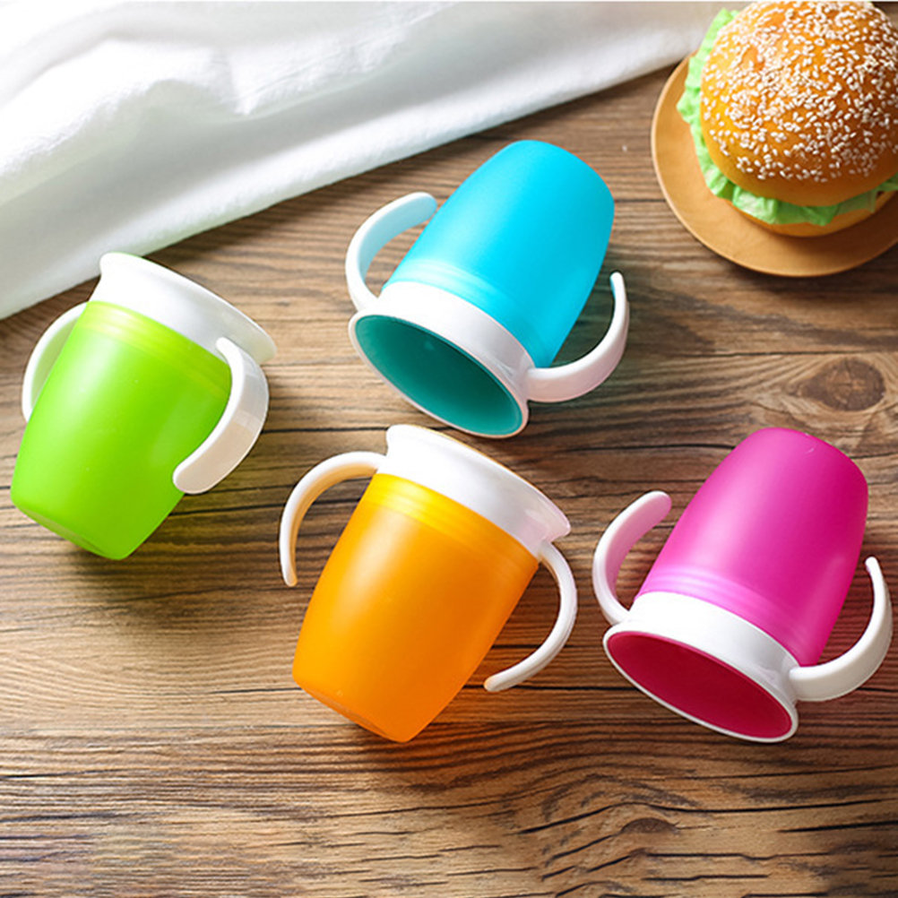 360 Degrees Can Be Rotated Magic Cup Baby Learning Drinking Cup With Double Handle Flip Lid Leakproof  Cup Infants Water Cups