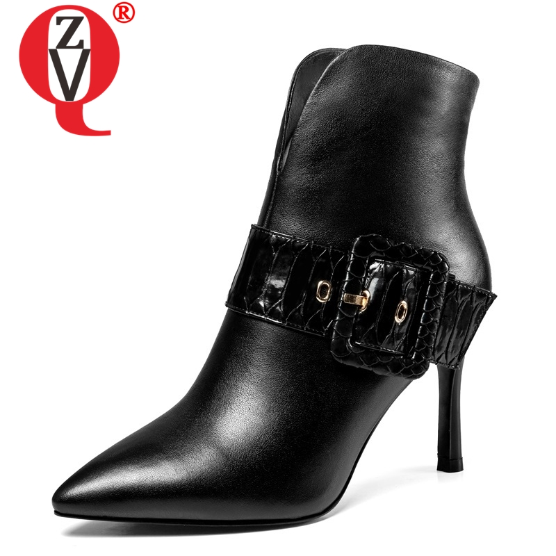 ZVQ women shoes 2018 newest high quality genuine leather pointed toe buckle fashion sexy super high thin heels zip ankle bootsZVQ women shoes 2018 newest high quality genuine leather pointed toe buckle fashion sexy super high thin heels zip ankle boots