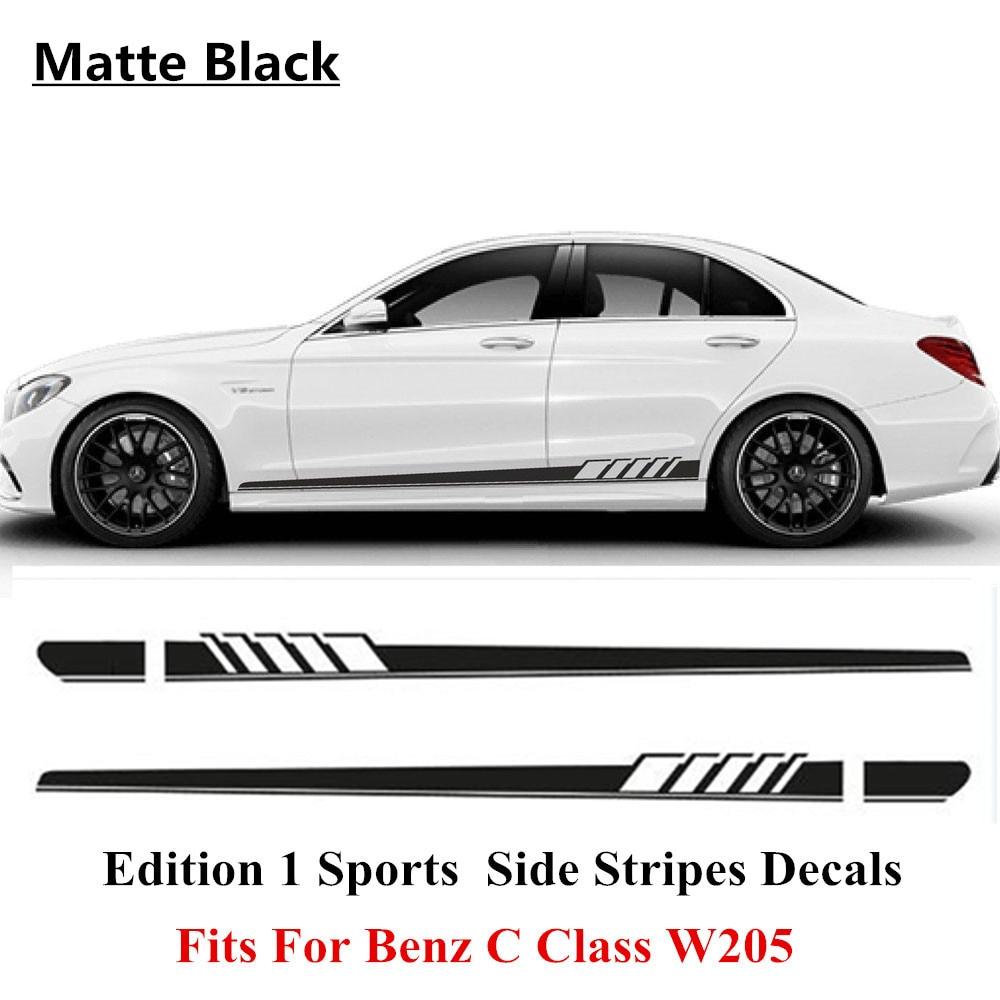 Matte must AMG väljaanne 507 külgriba kleebis Mercedes Benz C klassile W205 AMG