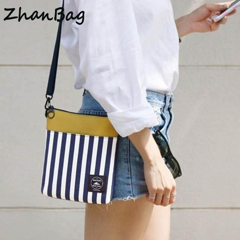 ZhanBag Travel small bag Striped digital women crossbody bag Female messenger shoulder bag Small cloth bag Girl casual handbag