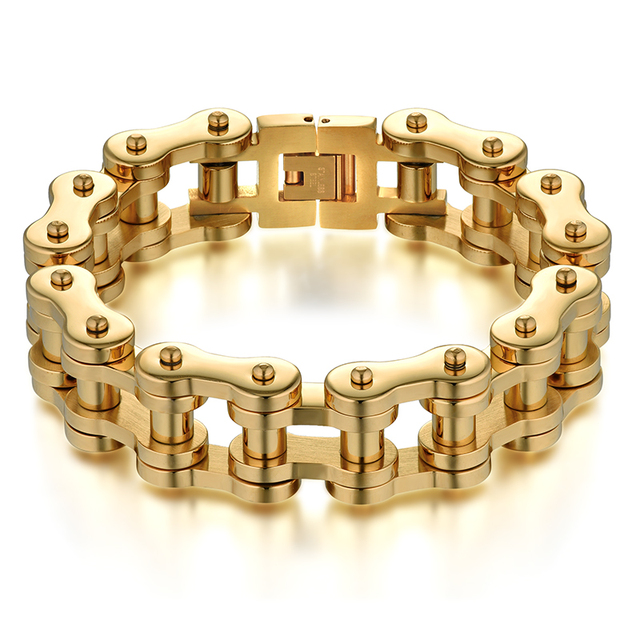 Men Jewelry Cool Bracelet Gold Color Stainless Steel Male Bracelets Biker Bicycle Motorcycle Chain S