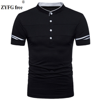 2018 Summer Style Casual T Shirt New Fashion Brand Clothing Male Solid Color Slim Fit Mandarin