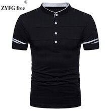 2018 Summer style Casual t shirt New Fashion Brand Clothing Male Solid Color Slim Fit Mandarin Collar Short Sleeve tees Men Tops casual drawstring mandarin collar t shirt