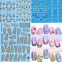 1Sheet 3D Acrylic Engraved Nail Sticker Flower Insect Decals Fashion Empaistic Adhesive Stickers Manicure Charms Tips