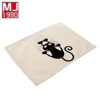 42x32 см милый кот салфетку Западный Pad 4 шт. хлопок белье Материал Творческий салфетки для Кухня стол чашки coaster коврики