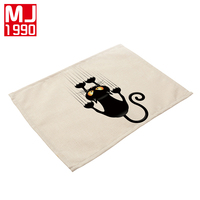 42x32cm Cute Cat Napkin Western Pad 4Pcs Cotton Linen Material Creative Placemats for Kitchen Table Cup Coaster Place Mats