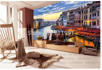 Free Shipping Custom Modern 3D Wallpaper Water Venice Night TV Setting Wall Of Sitting Room Sofa