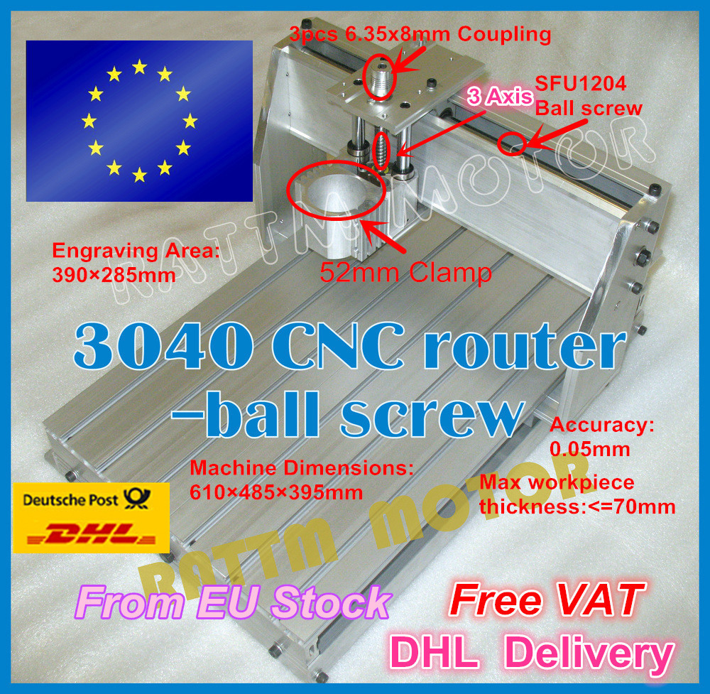 EU Ship free VAT 3040 CNC router Engraver Engraving milling machine mechanical aluminium Frame ballscrew Kit for DIY user metal engraving machine 3040 engraver 800w cnc machine to eu country free tax