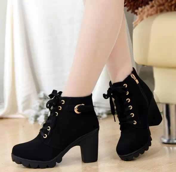 Nữ Đàn Phối Ren Khóa Mùa Đông Gợi Cảm Đảng Ấm Giày Gót Vuông Mắt Cá Chân Giày Nữ Khóa Kéo Nền Tảng Giày Cao Gót Martin giày Boots