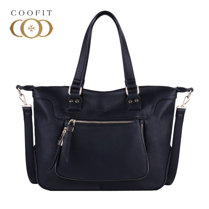 Coofit Casual Handbag Women Multipocket Large Capacity Tote Bag Quality PU Leather Shoulder Bag For Ladies Womens Messenger Bags
