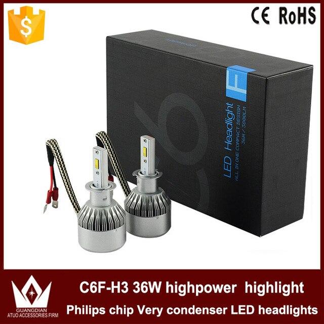 Guang Dian car led light Headlight Head lamp Fog light fog lamp with mute fan Auto CAR C6F 6000K white 12V 36W 3800LM h3 model
