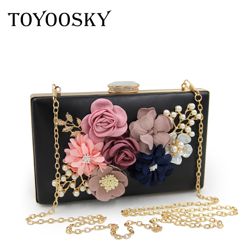 TOYOOSKY 2017 Luxury Pearl Flower Evening Bag Women Fashion Day Clutch Weeding Party Bridal Small Handbag Purse With Chain Bolso luxury gold silver evening purse women pink pu leather pearl hand bag chain shoulder clutch bags handbag bolso handtassen xa841h