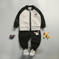 Baby Girls Sets 2pcs Embroidered Bulldog Cartoon Autumn Clothes Suit Coat Skirt Pants 1 4Y Girls