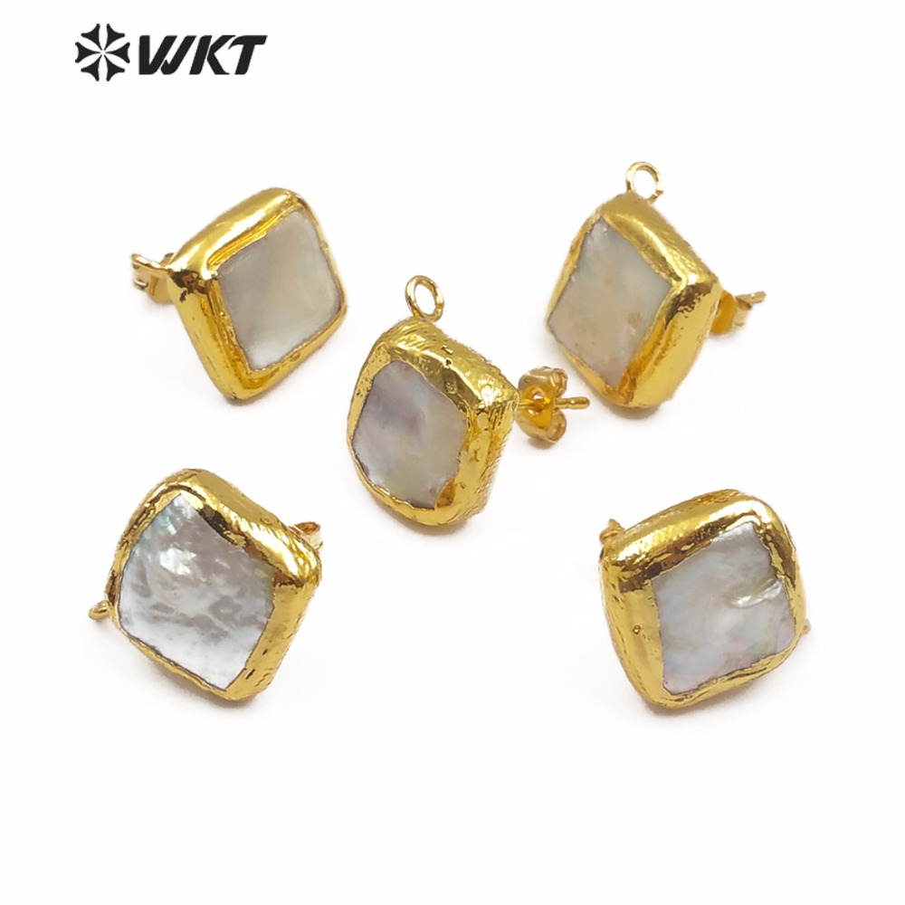 WKT WT-JF302 New Arrival Earrings Connector Natural Pearl Gold Earrings Connector Geometry Elements Square Jewelry Accessories