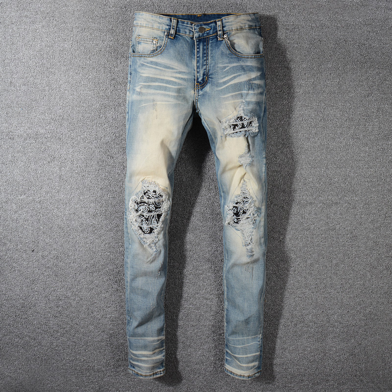 Fashion Streetwear Men Jeans Retro Washed Destroyed Ripped Denim Pencil Pants Brand Designer Hip Hop Skinny