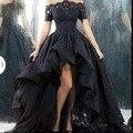 2015 Celebrity Dresses Ball Gown Short Sleeves Black Lace Short Front Long Back Long Elegant Evening Dresses Red Carpet Dresses