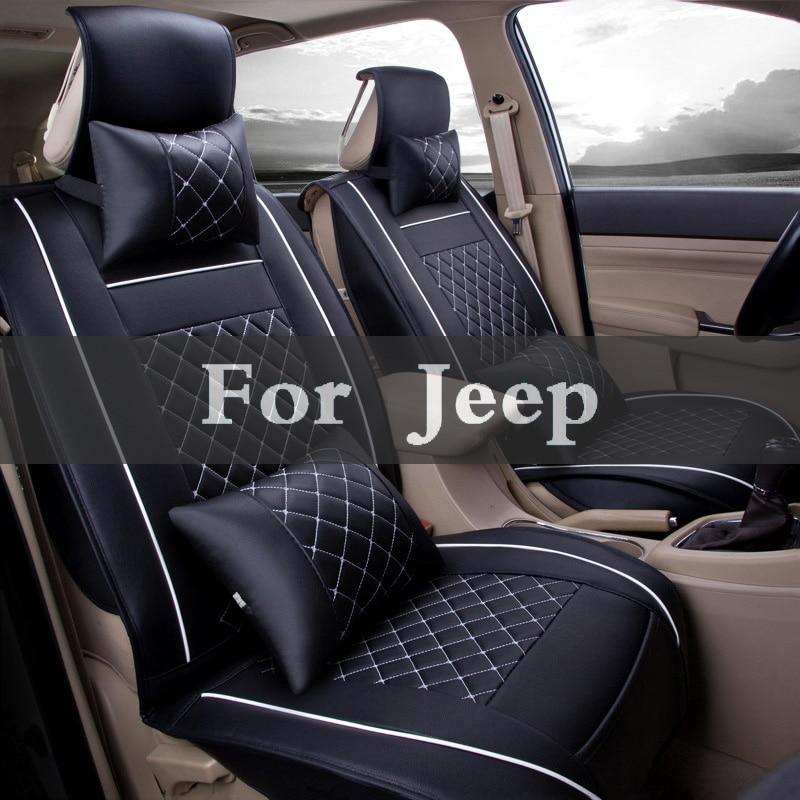Из искусственной кожи автомобилей чехлы Универсальный Полный Синтетический набор полный Чехлы для Jeep Liberty Renegade Wrangler командир