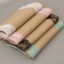 Hot Sale 10pcs/lot Wedding Party Decoration 30*275cm Rectangle Linen Table Runner White Lace Edge Jute Chair Sash Home Decor(China)