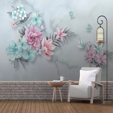 Nordic minimalist hand-painted flowers butterfly marbled background wall painting